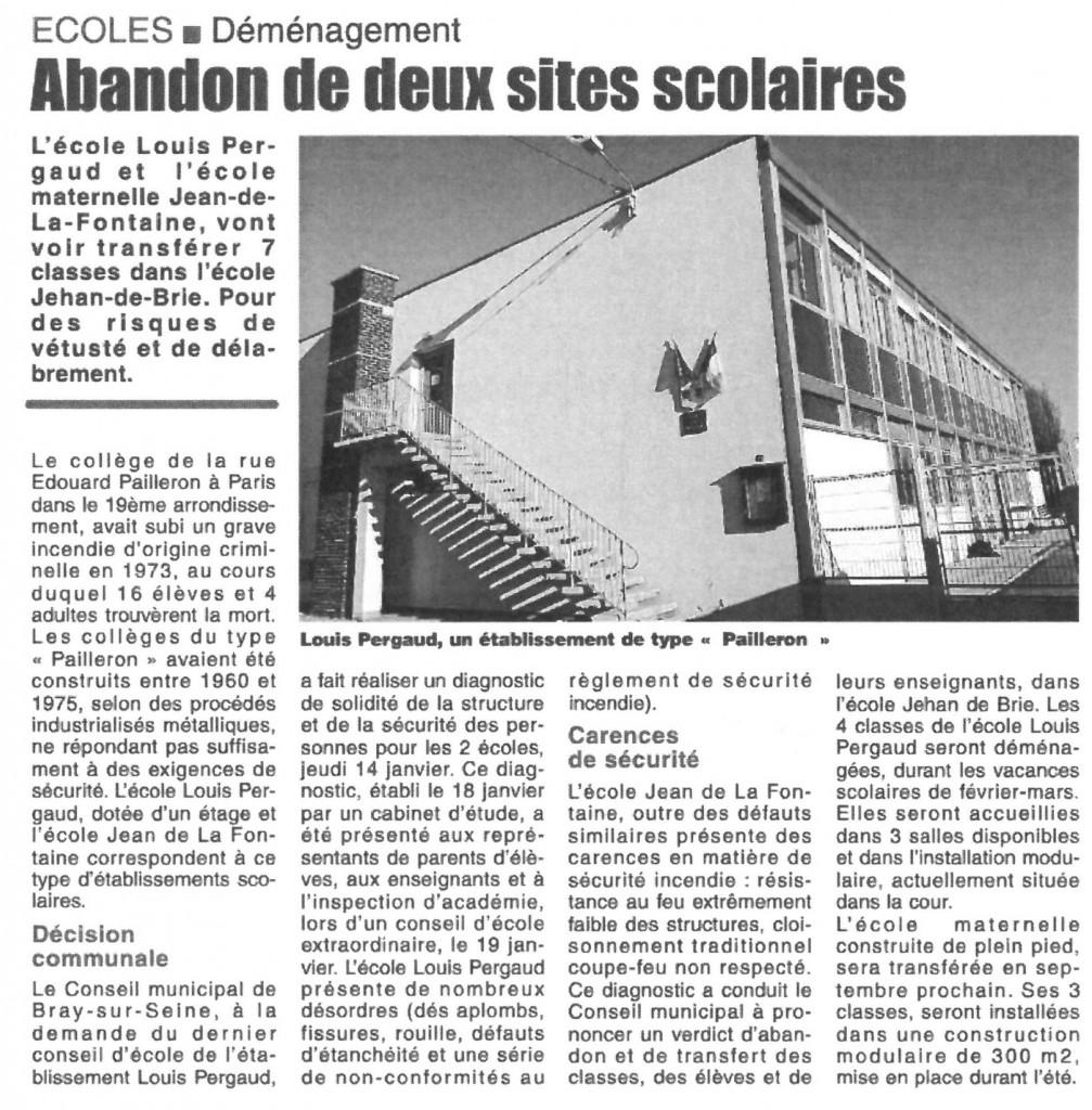 ABANDON DEUX SITES SCOLAIRES 25-1-16