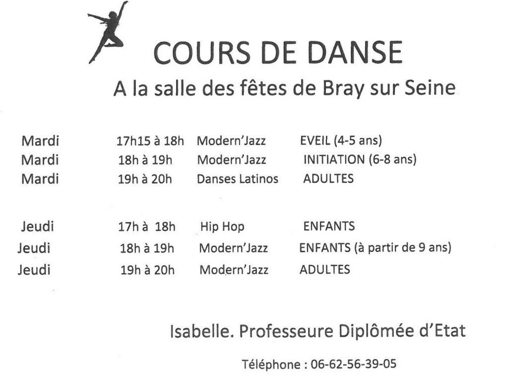 Cours de danse (horaires)